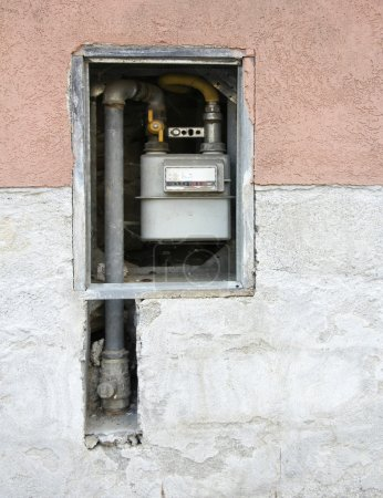 Gas meter on the wall