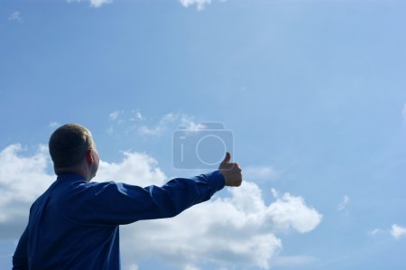 businessman and success on blue sky
