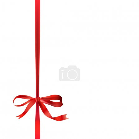 Illustration for The illustration of beautiful red bow and ribbon. Vector image. - Royalty Free Image