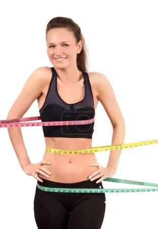 Measuring bust, waist, hips.