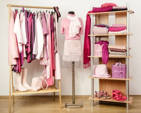 Dressing closet with pink clothes arranged on hangers and shelf, outfit on a mannequin.