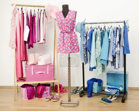 Dressing closet with pink and blue clothes arranged on hangers and an outfit on a mannequin.