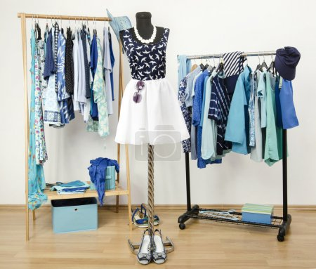 Dressing closet with blue clothes arranged on hangers. Cute summer outfit on a mannequin.