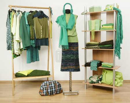 Dressing closet with green clothes arranged on hangers and shelf, autumn outfit on a mannequin.