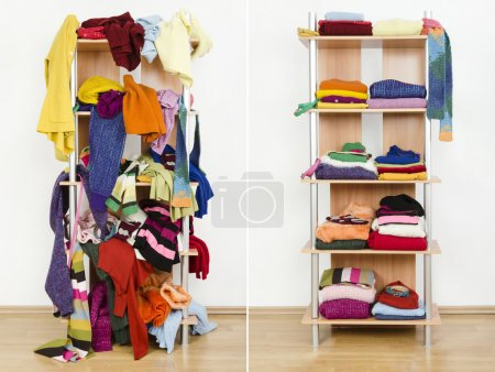 Photo for Messy clothes thrown on a shelf and nicely arranged clothes in piles. - Royalty Free Image