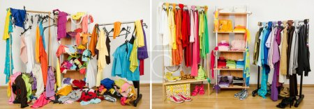 Photo for Untidy cluttered woman dressing with clothes and accessories vs. closet color coordinated on hangers and shelf. - Royalty Free Image