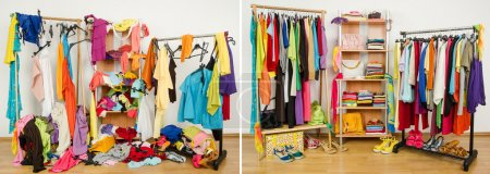 Photo for Untidy cluttered woman dressing with clothes and accessories vs. closet nicely arranged on hangers and shelf. - Royalty Free Image
