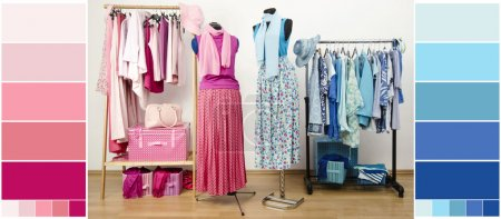 Wardrobe with blue and pink clothes, shoes and accessories with color samples.