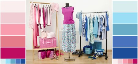 Wardrobe with blue and pink clothes, shoes and accessories with color swatches.
