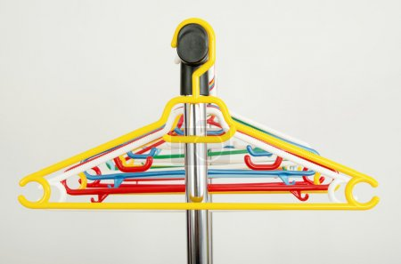 Photo for Close up on colorful plastic hangers. - Royalty Free Image