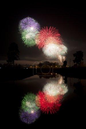 Photo pour Feux d'artifice du nouvel an en Thaïlande Chiang mai - image libre de droit