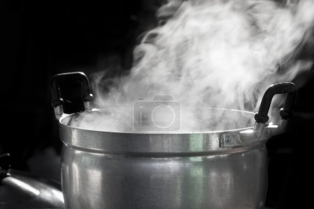 Steam on pan