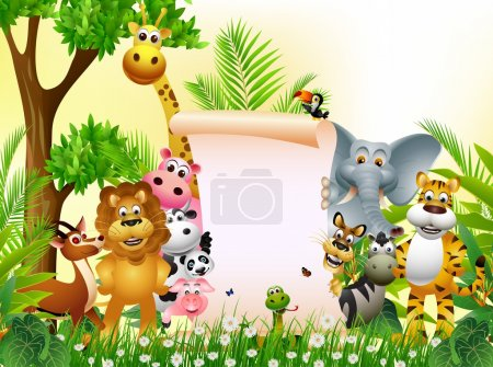 Animal cartoon in jungle with blank sign