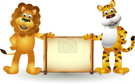 Illustration for Funny tiger and lion cartoon - Royalty Free Image