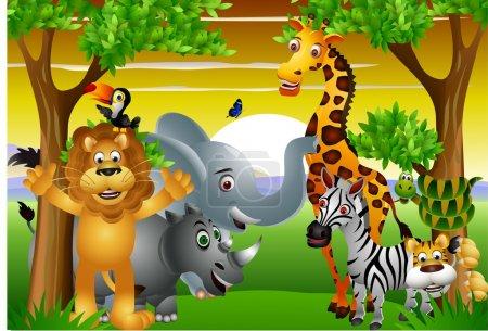 Illustration pour Dessin animé animal sauvage - image libre de droit