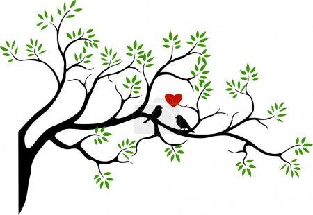Illustration pour Silhouette d'arbre avec couple d'amour oiseau - image libre de droit