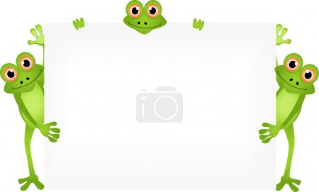 Funny frog cartoon with blank sign...