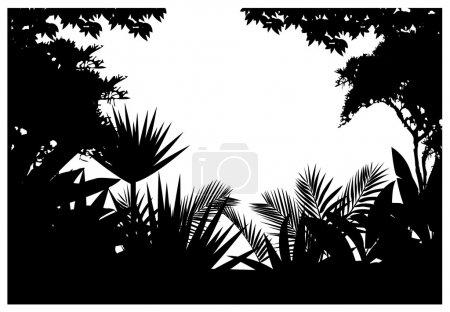 Illustration pour Silhouette de jungle - image libre de droit