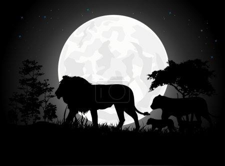 Illustration pour Belles silhouettes de famille Lion avec fond de lune géant - image libre de droit