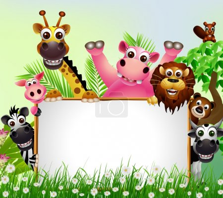 Illustration for Vector illustration of funny animal cartoon set with blank sign - Royalty Free Image