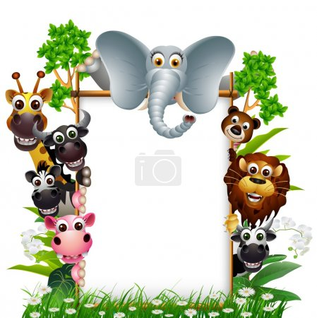 Illustration for Vector illustration of funny animal smiling with blank sign and tropical forest background - Royalty Free Image