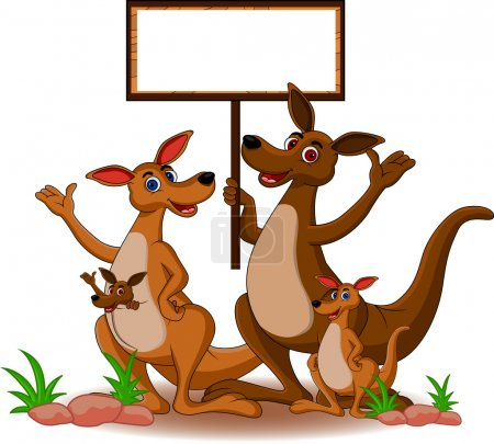Family kangaroo with blank board