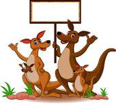 Family kangaroo with blank board