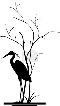 Heron and tree silhouette
