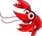 Vector illustration of funny red shrimp cartoon