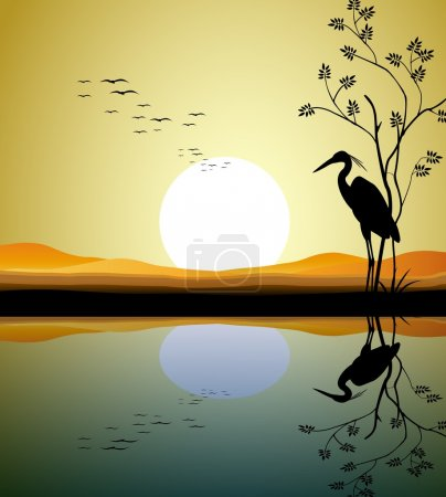 Illustration for Vector illustration of heron silhouette on lake - Royalty Free Image