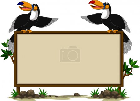 couple toucan sitting on blank sign