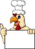 Vector illustration of funny cartoon chicken with blank sign