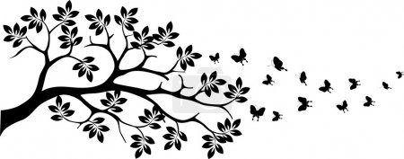Illustration for Vector illustration of black tree silhouette with butterfly flying - Royalty Free Image