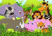 Roztomilá zvířata volně žijící zvířata kreslená