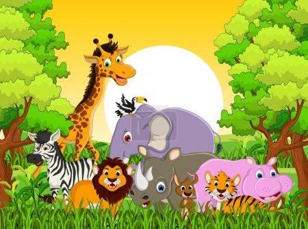 Illustration pour Illustration vectorielle de dessins animaliers animaux mignons - image libre de droit