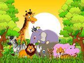 Постер Милые животные мультфильм дикая природа
