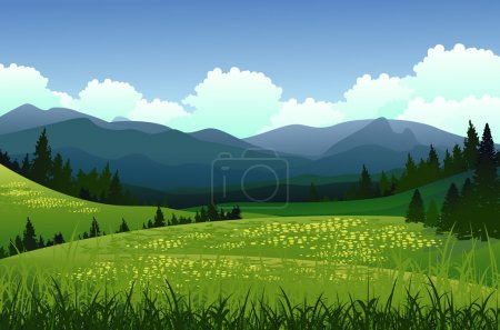 Illustration for Vector illustration of beauty landscape with pine forest and mountain background - Royalty Free Image