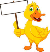 Funny duck cartoon holding white board