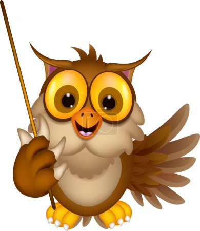 Illustration for Vector illustration of Cute owl cartoon holding stick - Royalty Free Image