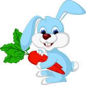 Vector illustration of lovely rabbit holds giant carrot