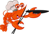 Cartoon Chef lobster with chopsticks and bowl