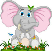 Vector illustration of cute elephant cartoon holding blank board