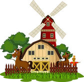 Vector illustration of horse at the farm