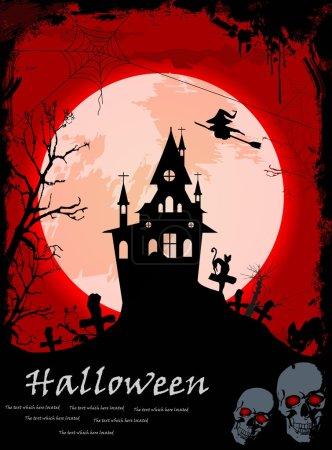 Halloween night, black castle on the moon background