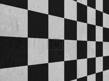 Large black and white checker floor background pattern