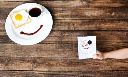 Photo pour Photo de style polaroïd d'œufs frits sur l'assiette pour un bon petit déjeuner - image libre de droit