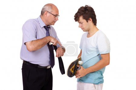 Strict father punishes his young son, isolated on white backgrou