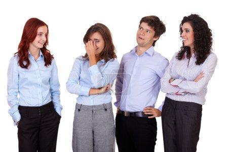 Photo pour Jeune souriant succès groupe de femmes d'affaires et homme d'affaires rassemblés, isolé sur blanc - image libre de droit