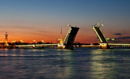 Photo pour Pont du Palais levé la nuit à Saint-Pétersbourg, Russie - image libre de droit