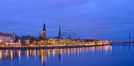 Christmas riverside view of old city of Riga, Latvia